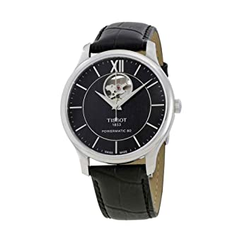 Amazon.com  Tissot Men s Tradition Powermatic 80 Open Heart -  T0639071605800 Black Black One Size  Watches 4222e2631561