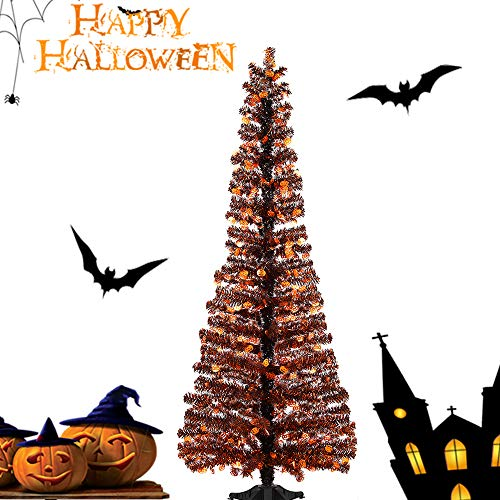 Joy-Leo 5 Foot Black Pumpkin Tinsel Tree for Halloween Decoration with Plastic Stand, Pop-up Halloween Christmas Tree with Pumpkin Cut Out Sequins, Collapsible & -