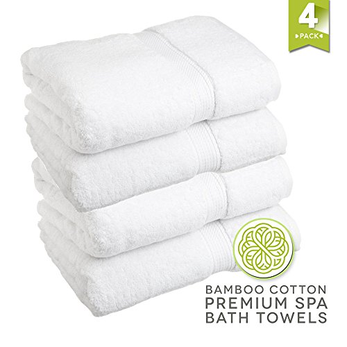 LionFinch Premium Bamboo Cotton Towels- Set of 4. Super Soft Absorbent Plus Mold Mildew Resistant. 54 inches Long 27 inches Wide. Easy to Wash Dry. by LionFinch