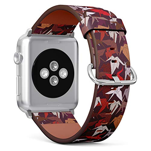 Japanese Origami Paper Cranes Symbol of Happiness, Luck and Longevity - Patterned Leather Wristband Strap Compatible with Apple Watch Series 4/3/2/1 38mm/40mm