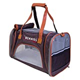 Pet Travel Bag for Small Dog and Cat - Airline Approved Crate - Soft Sided - Collapsible Carriers with Comfortable Fleece Bed - Fits Under Cabin Seat - By Bennies World