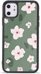 Cute Floral Flower iPhone Xs Max Cases, Luxury Glitter Flower iPhone Case Soft TPU Bumper with Metal Sheet for Women Girls-Green Flower