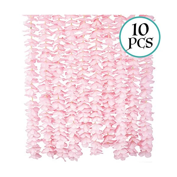 10 Pack(Each 78.7inch)(Total 65.6Feet) Artificial Silk Wisteria Fake Hanging Flowers Vine Plants Leaf Garland for Wedding Party Garden Outdoor Greenery Office Home Wall Decoration Pink