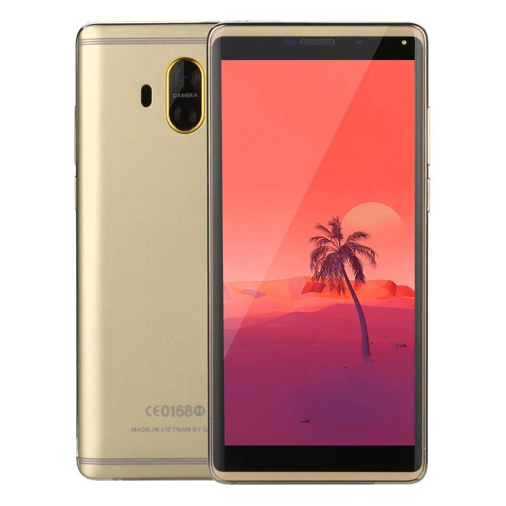Whitesbout 5.7 inch Android 6.0 Smartphone 1G+4G Quad-core 3G Call Mobile Phone Dual SIM (Gold)