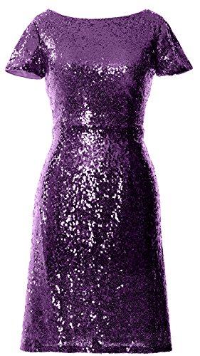 Boat Short Sleeve Sequin Dress Neck Violett Cocktail Cap Dress Women MACloth Bridesmad qTCawfY