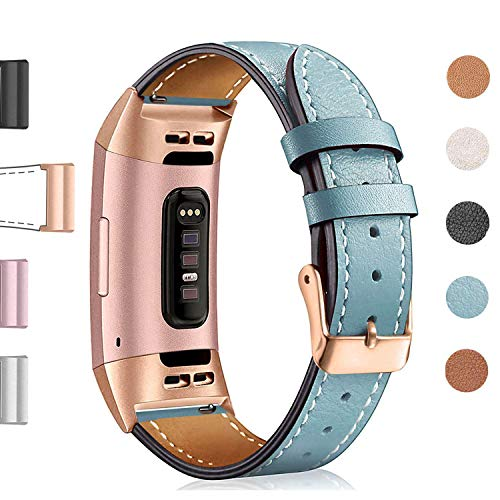 Hotodeal Leather Band Compatible Fitbit Charge 3 Charge 3 SE, Classic Replacement Genuine Leather Bands Metal Connectors Women Men Small Large Size Silver, Rose Gold, Black