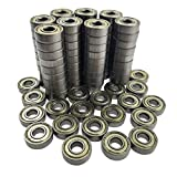 100 PCS 608 ZZ Ball Bearing,Metal Double Shielded Miniature Deep Groove Skateboard Bearing, 8x22x7, Sealed(8x22x7mm)