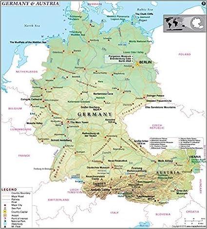 Deutschland Und Osterreich Karte 91 4 Cm W X 101 1 Cm H Amazon
