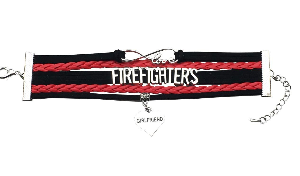 Infinity Collection Firefighter Girlfriend Jewelry Fire Fighter Girl Friend Bracelet Proud Fireman's GF Charm Bracelet Makes for Girlfriends