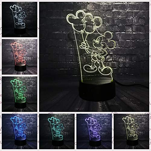 Moonnight Store Mickey Minnie Mice Mouse Balloon 3D LED Night Light USB Desk Decorative Table Mood Baby Kid Children Toys Gifts (Controller 7 Color) -
