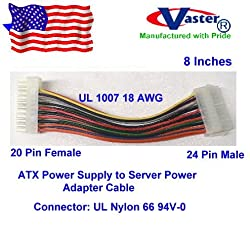 ATX Power Supply to Server Power Cable, 20 F – 24M, 8 Inches