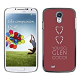 LASTONE PHONE CASE / Slim Protector Hard Shell Cover Case for Samsung Galaxy S4 I9500 / You Go Heart Maroon Brown Clean