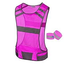 247 Viz Reflective Running Vest Gear - STAY VISIBLE & SAFE - Ultra Light & Comfortable Motorcycle Reflective Vest - Large Pocket & Adjustable Waist, Safety Vest, with Bands (Pink, Medium)