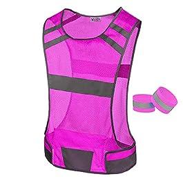 247 Viz Reflective Running Vest Gear – Stay Visible & Safe – Ultra Light & Comfortable Motorcycle Reflective Vest – Large Pocket & Adjustable Waist – Safety Vest – Free Bands