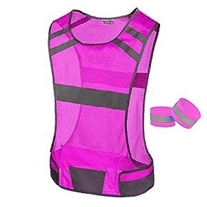 247 Viz Reflective Running Vest Gear Stay Visible & Safe Ultra Light & Comfortable Motorcycle Reflective Vest Large Pocket & Adjustable Waist Safety Vest Free Bands