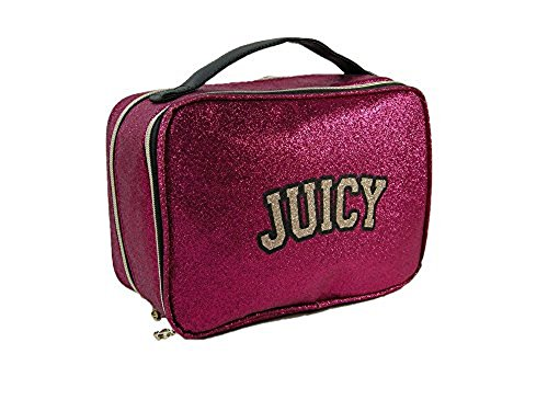 New Juicy Couture Logo CosmeticsTravel Bag Make-up Train Case Pink Glitter -