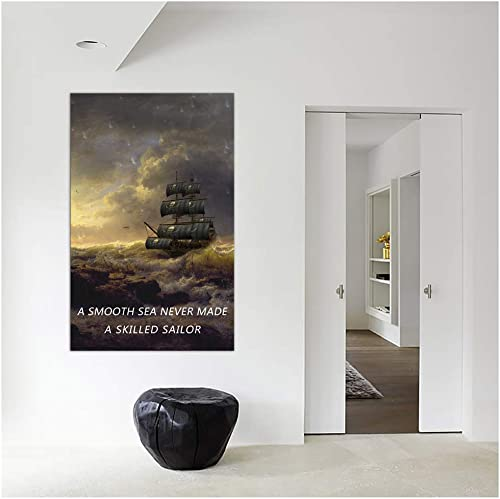 AMEMNY Inspirational Wall Art 'A Smooth Sea Never Made A Skilled Sailor' Posters Motivational Quotes Canvas Paintings Sailing Ship Storm Pictures Modern Motto Prints Artwork Office Decoration
