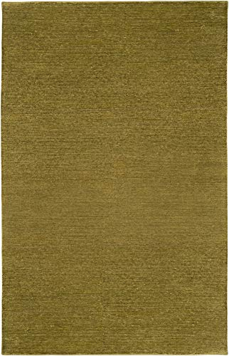 Zaleski Solid Stripes 8' x 11' Rectangle Solids and Borders 100% Semi-Worsted New Zealand Wool Beige/Khaki Area Rug