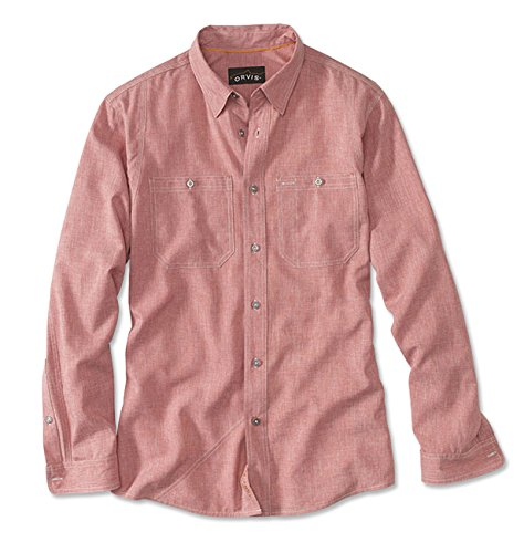 Orvis Men's Tech Chambray Work Shirt, Red Clay, X (Mens Red Clay)