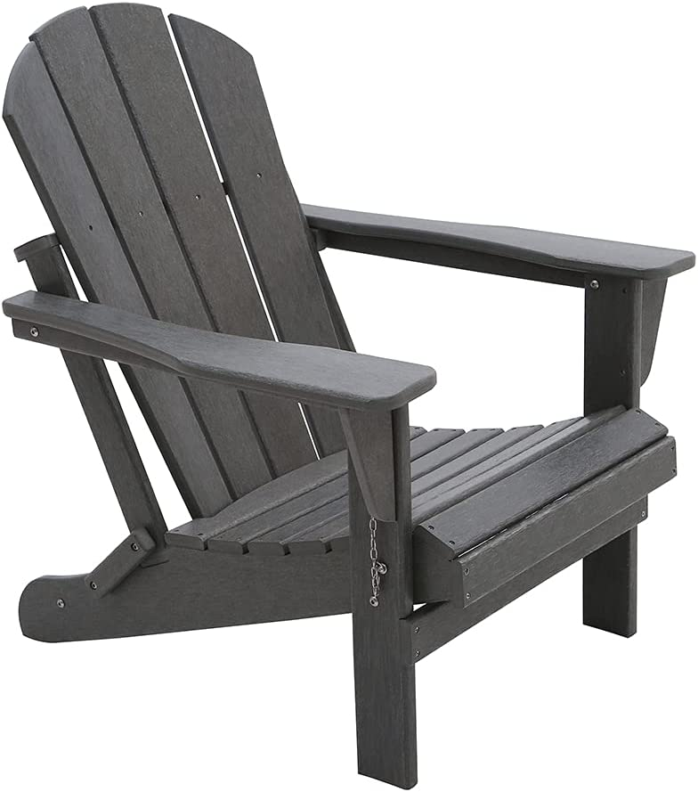 Foldin Adirondack HDPE Outdoor Wood Plastic Lounge Beach Patio Rocking Lawn Chairs Lifetime for Outside Pool Furniture Seating Porch Weather Resistant (Slate Grey)