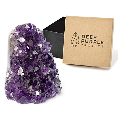 (Deep Purple Project Amethyst Crystal Geodes (350 gr to 500 gr) in a Premium Gift Box, Large Clusters Perfect for Spiritual Home Decor, Polished Quartz from Uruguay)