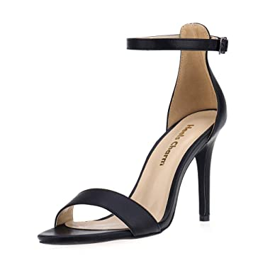 7e84d547cc60 Women s Strappy Heeled Sandals Open Toe Stiletto Ankle Strap High Heel 4  Inch Dress Shoes Black