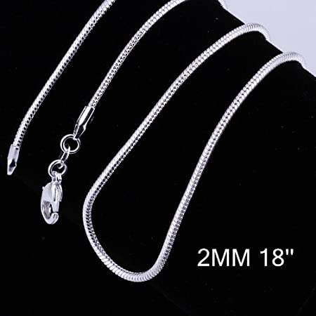 Amazon Com Yuren 3 Pieces 925 Sterling Silver 2mm Snake Chain Necklace Jewelry Jewelry For Men And Women 16 24 Inch 18 Inch Arts Crafts Sewing