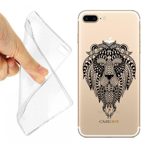 CUSTODIA COVER CASE LEONE MAORI TRIBALE PER IPHONE 7 PLUS TRASPARENTE