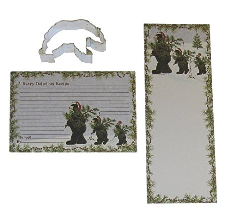 Christmas Bears Magnetic List Pad, Recipe Cards, and Cookie Cutter Bundle Gift Set (3 (Care Bear List)