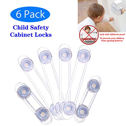 Child Safety Lock Child Safety Cabinet Locks Baby Proofing Tools Not Required Uses 3M Adhesive with Drawers, Appliances, Toilet Seat, Fridge and Oven and Latch System Baby Safety Locks 6 Pack