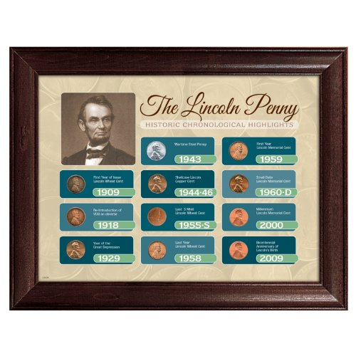 American Coin Treasures The Lincoln Penny Historical Chronological Highlights Framed - Historical Coins
