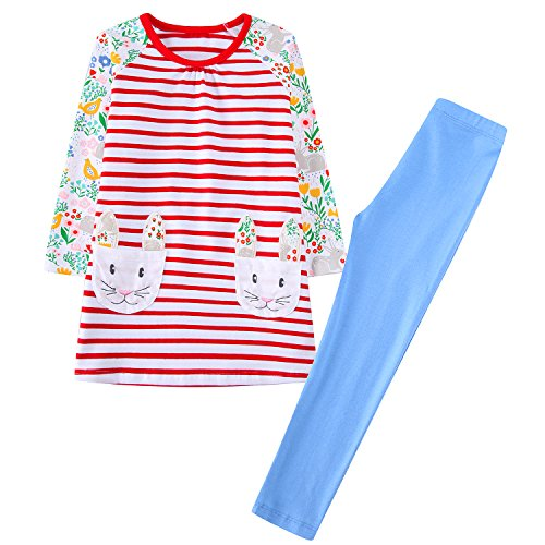 [Jumping Meters Toddler Girls Outfit Clothing Set Kids Top Dress with Rabbit Print Pocket ,7T,Sky] (Animal Outfits For Toddlers)