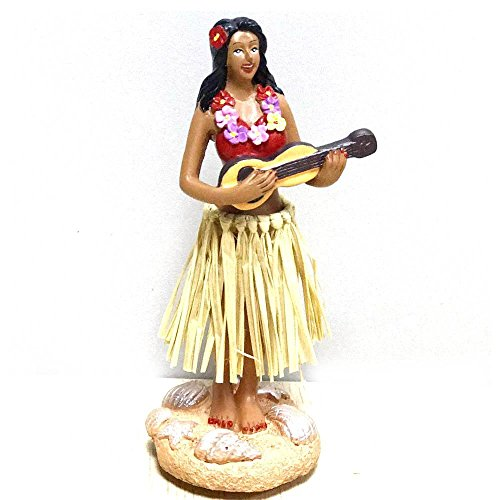 Lilo And Stitch Costumes Ideas (Hula Girl,SMYER Posing Mini Dashboard Doll Raffia Skirt Playing Ukulele Hawaiian Gifts for Decoration 4.5
