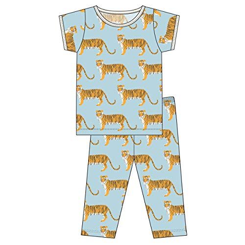 (Kickee Pants Little Boys Custom Print Short Sleeve Pajama Set - Spring Sky Tiger, 2T)