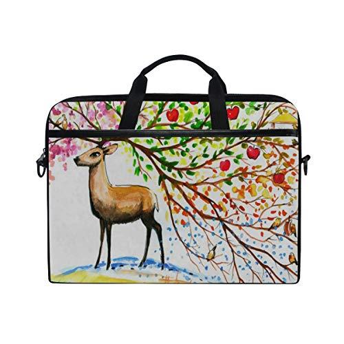 (Watercolor Deer Tree Bird 14 15inch Laptop Case Laptop Shoulder Bag Notebook Sleeve Handbag Computer Tablet Briefcase Carrying Case Cover with Shoulder Strap Handle Travel/Business/School)
