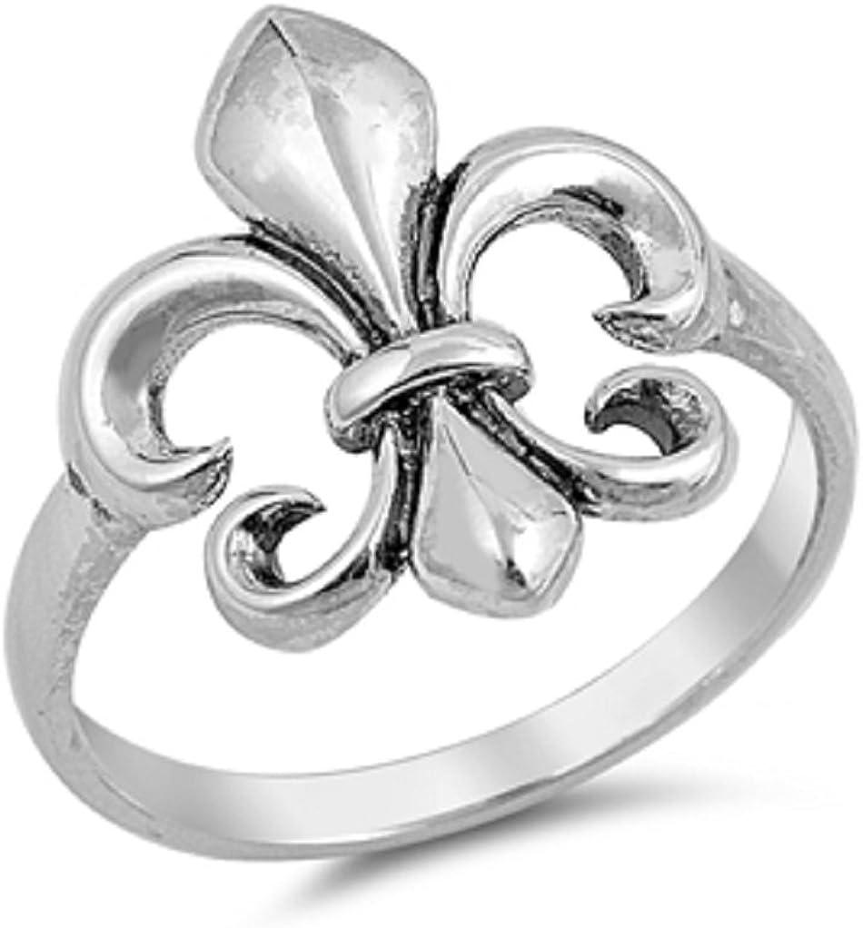 925 Sterling Silver Plain Fleur De Lis Design Ring