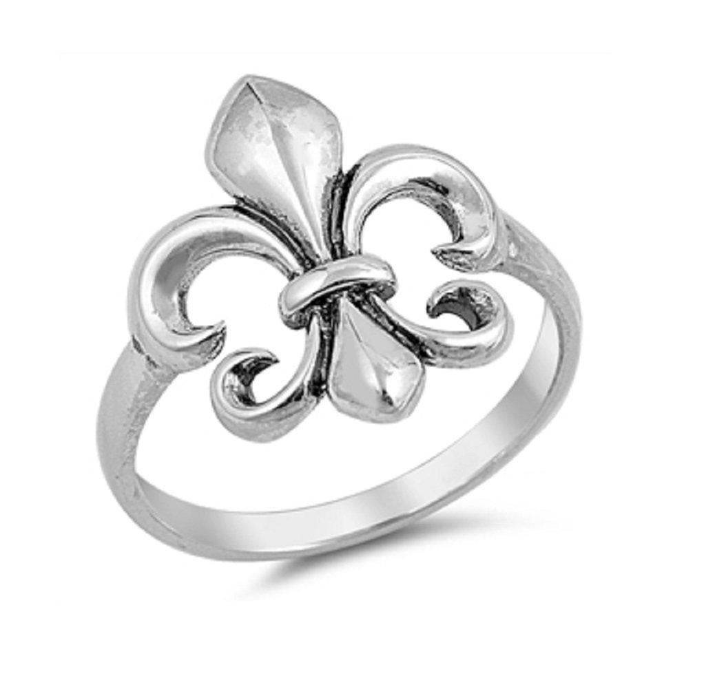CloseoutWarehouse Sterling Silver Fleur De Lis Ring Size 8