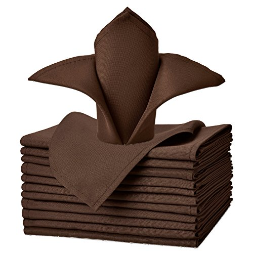 Napkins Chocolate Dinner Brown - VEEYOO Cloth Napkins Set of 12 Pieces Solid Polyester Napkins Soft Fabric Washable and Reusable Dinner Napkin for Banquet Wedding Restaurant (Chocolate, 17x17)