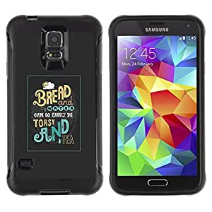 Be-Star único patrón Impacto Shock - Absorción y Anti-Arañazos Funda Carcasa Case Bumper Para SAMSUNG Galaxy S5 V / i9600 / SM-G900F / SM-G900M / SM-G900A / SM-G900T / SM-G900W8 ( Toast Bread Tea Breakfast Food Morning )