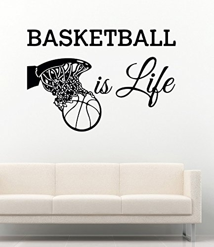 Sport Wall Decals Basketball Is Life Ball Hoop Home Vinyl Decor Stickers MK1770