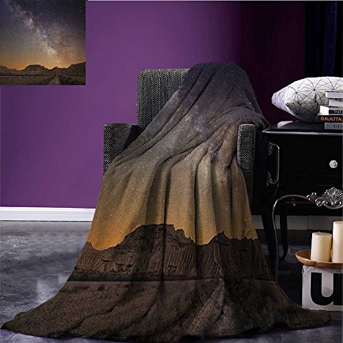 Night throw blanket Milky Way over Desert of Bardenas Spain Ethereal View Hills Arid Country miracle blanket Plum Apricot Chocolate size:50''x60'' by Anniutwo