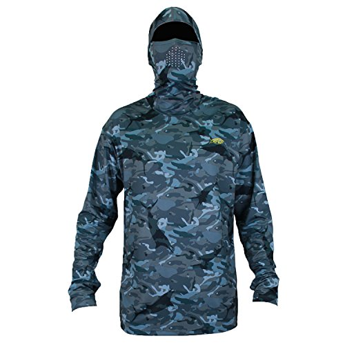 AFTCO Fish Ninja 2 Ultra Performance Long Sleeve Shirt w/Hood - Blue Camo - Large