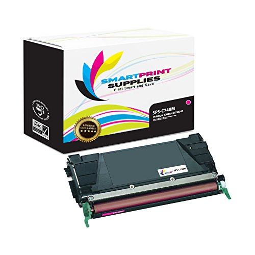 Smart Print Supplies Compatible C748 C748H1MG C748H2MG C748H4MG Magenta High Yield Toner Cartridge Replacement for Lexmark C748 C746 C748 X746 X748 Printers (10,000 Pages)