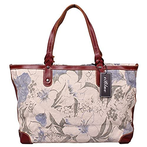5df3d936056a Iblue Womens Canvas Leather Messenger Shoulder Bag Large Work Tote  i8589  lovely