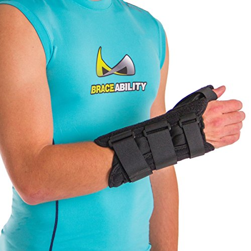 BraceAbility Thumb & Wrist Spica Splint | De Quervain's Tenosynovitis Long Stabilizer Brace for Tendonitis, Arthritis & Sprains Forearm Support Cast (Medium - Right Hand)