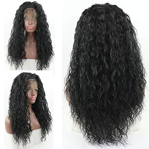 (Loose Curly Lace Front Wig Black Hair Heat Resistant Fibers Synthetic Lace Front Wig Glueless Half Hand Tied for All Women 24inch (Black))