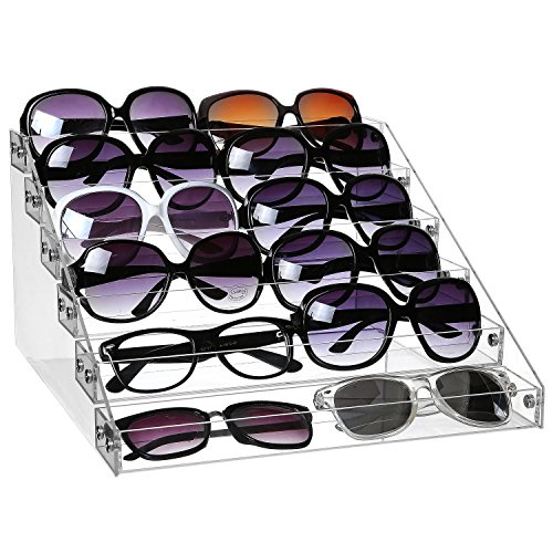 MyGift 6-Tier Clear Acrylic Sunglasses Retail Display Rack, Salon Nail Polish Bottle - Stands Display Retail