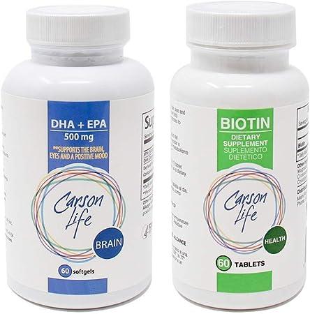 CARSON LIFE - Biotin Supplement (1 Bottle, 60 Tablets) Bundle with DHA & EPA Brain Supplement - (1 Bottle, 60 Capsules) - for Men & Women - Vitamin Promotes Hair Skin and Nails, Memory, Brain