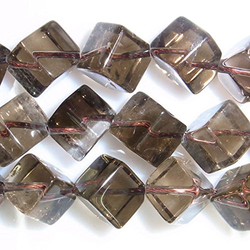 TheTasteJewelry 6mm Cube Edge Smoky Quartz Beads 15 inches 38cm Jewelry Making Necklace Healing Smokey Quartz Bead Necklace