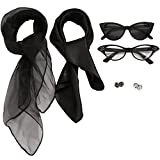 JIPIE Solid Color Satin and Silk Kerchief Set with Glasses & Ear Studs, Black